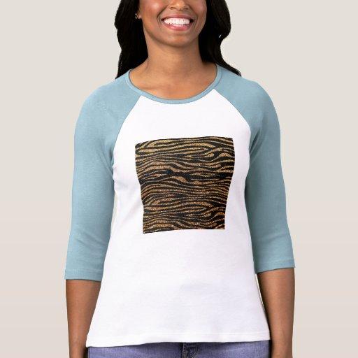 Gold zebra stripe pattern (faux glitter bling) tee shirt