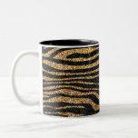 Gold zebra stripe pattern (faux glitter bling) Two-Tone coffee mug