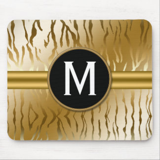 Gold Zebra Stripe with Monogram Mouse Pad