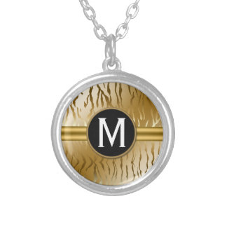 Gold Zebra Stripe with Monogram Silver Plated Necklace