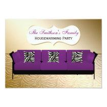 gold, zebra stripes, chic Purple sofa, mod invites