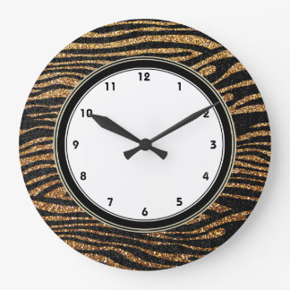 Gold zebra stripes print (faux glitter bling) large clock