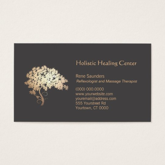 Gold Zen Tree Holistic And Natural Healer Business Card