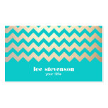 Gold Zig Zag Pattern and Turquoise Blue Business Card Template