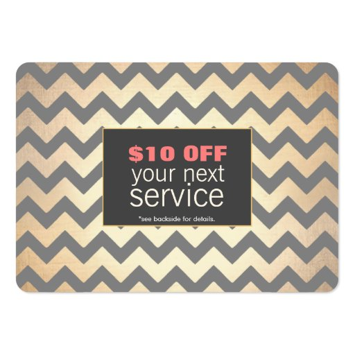 Gold Zig Zags Hair Salon and Spa Discount Coupon Business Card Templates (front side)