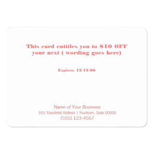 Gold Zig Zags Hair Salon and Spa Discount Coupon Business Card Templates (back side)