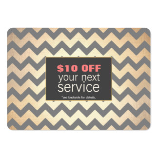 Gold Zig Zags Hair Salon and Spa Discount Coupon Large Business Cards (Pack Of 100)