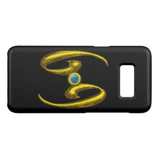 GOLD ZODIAC SIGN CANCER, Blue Opale Gemstone Black Case-Mate Samsung Galaxy S8 Case