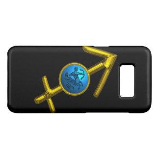 GOLD ZODIAC SIGN SAGITTARIUS, Blue Turquoise,Black Case-Mate Samsung Galaxy S8 Case