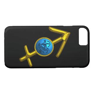 GOLD ZODIAC SIGN SAGITTARIUS, Blue Turquoise,Black iPhone 7 Case