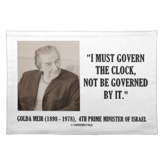 Golda Meir I debe gobernar la cita del reloj Manteles