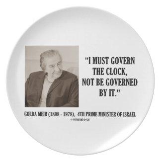 Golda Meir I debe gobernar la cita del reloj Platos Para Fiestas