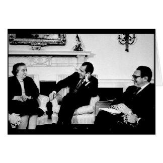 Golda Meir, presidente Nixon, y Henry Kissinger Tarjeta De Felicitación