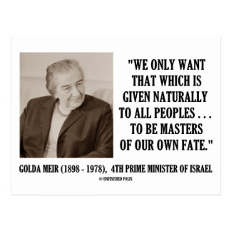 Golda Meir To Be Masters Of Our Own Fate Quote Post Cards