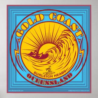 GOLDCOAST, VICTORIA, AUSTRALIA, PRACTICANDO SURF PÓSTER