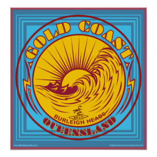 GOLDCOAST, VICTORIA, AUSTRALIA, SURFING POSTER