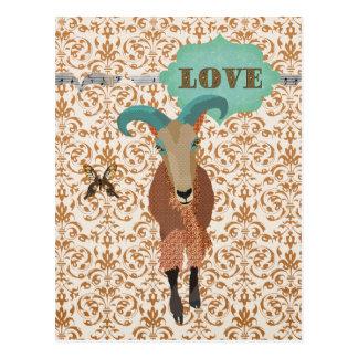 Golddust Aoudad & Butterfly Damask  Postcard Love