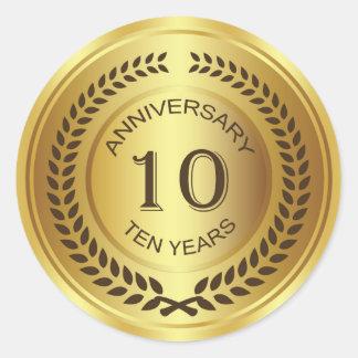 Golden 10th Anniversary with laurel wreath Sticker