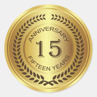 Golden 15th Anniversary with laurel wreath Sticker