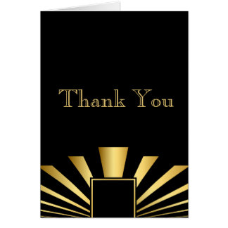 Golden 1920s Art DecoThank You Note Card