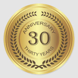 Golden 30th Anniversary with laurel wreath Sticker