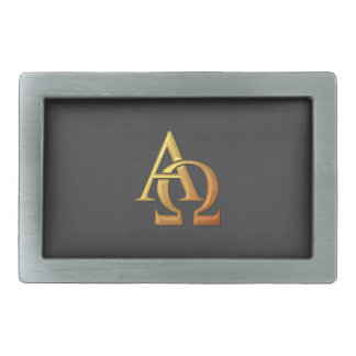 "Golden ""3-D"" Alpha and Omega Symbol Belt Buckle"