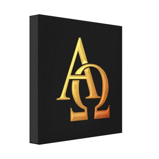 """Golden """"3-D"""" Alpha and Omega Symbol Canvas Print"""