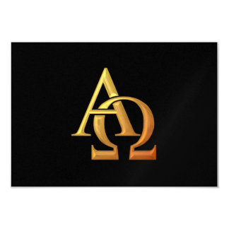 "Golden ""3-D"" Alpha and Omega Symbol Card"