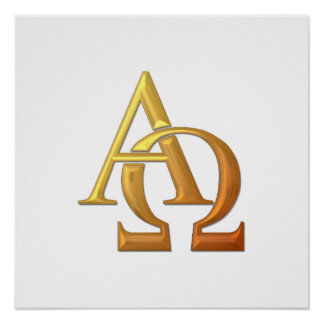"""Golden """"3-D"""" Alpha and Omega Symbol Poster"""