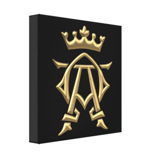 "Golden ""3-D"" Alpha and Omega w/Crown Symbol Canvas Print"