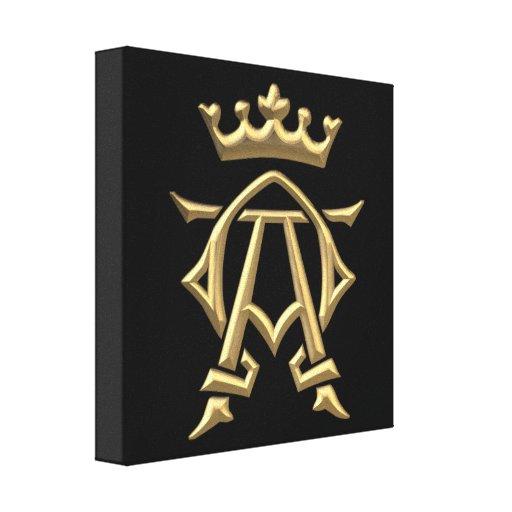 "Golden ""3-D"" Alpha and Omega w/Crown Symbol Canvas Print"