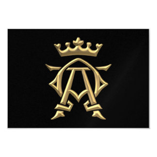"""Golden """"3-D"""" Alpha and Omega w/Crown Symbol Card"""