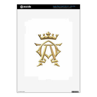 "Golden ""3-D"" Alpha and Omega w/Crown Symbol Decals For iPad 3"