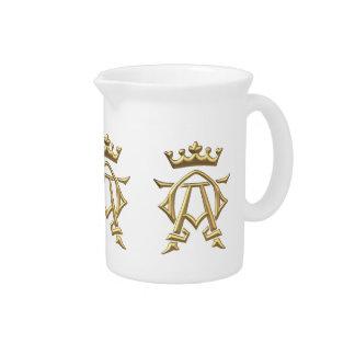 """Golden """"3-D"""" Alpha and Omega w/Crown Symbol Drink Pitcher"""
