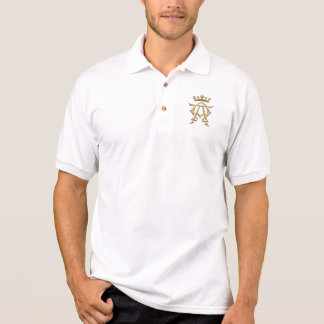 """Golden """"3-D"""" Alpha and Omega w/Crown Symbol Polo Shirt"""