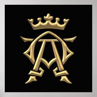 "Golden ""3-D"" Alpha and Omega w/Crown Symbol Poster"