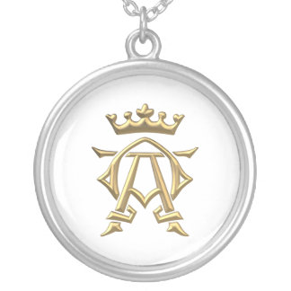 """Golden """"3-D"""" Alpha and Omega w/Crown Symbol Silver Plated Necklace"""