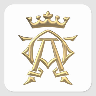 "Golden ""3-D"" Alpha and Omega w/Crown Symbol Square Sticker"