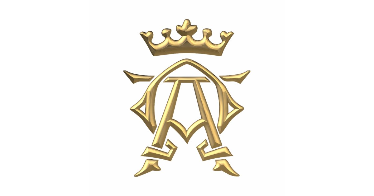 Golden Quot 3 D Quot Alpha And Omega W Crown Symbol Statuette
