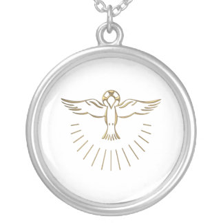 "Golden ""3-D"" Ascent of The Holy Spirit Round Pendant Necklace"