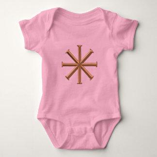 "Golden ""3-D"" Baptismal Cross Baby Bodysuit"