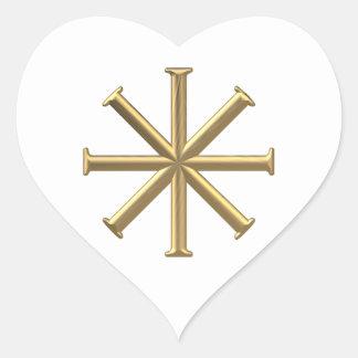 """Golden """"3-D"""" Baptismal Cross Heart Sticker"""