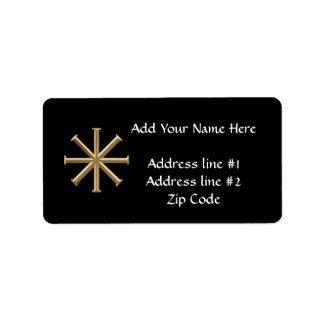"Golden ""3-D"" Baptismal Cross Label"