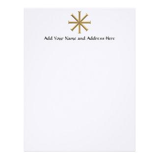 """Golden """"3-D"""" Baptismal Cross Letterhead"""