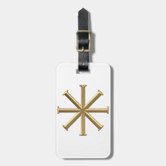 "Golden ""3-D"" Baptismal Cross Luggage Tag"