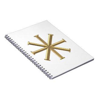 """Golden """"3-D"""" Baptismal Cross Notebook"""