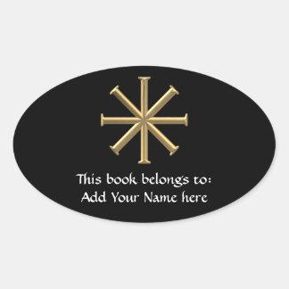 """Golden """"3-D"""" Baptismal Cross Oval Sticker"""