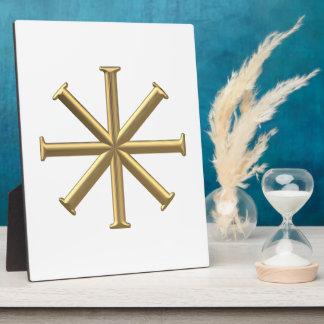 "Golden ""3-D"" Baptismal Cross Plaque"