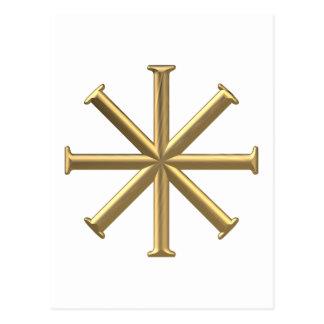 """Golden """"3-D"""" Baptismal Cross Postcard"""