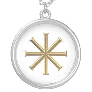 """Golden """"3-D"""" Baptismal Cross Silver Plated Necklace"""